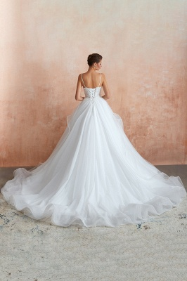 Camille | White Ball Gown Wedding Dress with Chapel Train, Spaghetti Strap See-through Lace up Bridal Gowns for Sale_5
