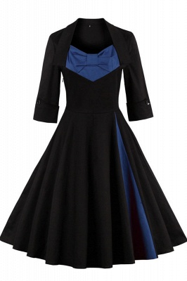 1/2 Sleeve Bow Tie Two Toned Vintage Dress with Pleats clearance sale & free shipping_2