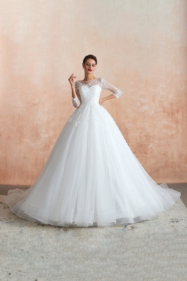 Canace | Romantic Long sleeves Lace Ball Gown Wedding Dress, Fully covered Buttons Bridal Gowns with Court Train_8
