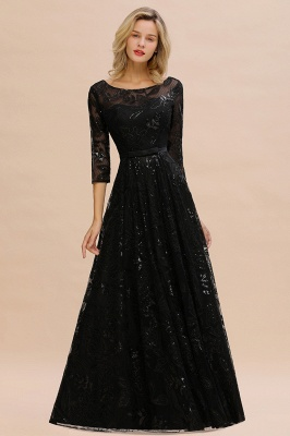 Acacia | Scoop neck Long Sleeves Black Prom Dresses with Sparkly Floral Designs_7