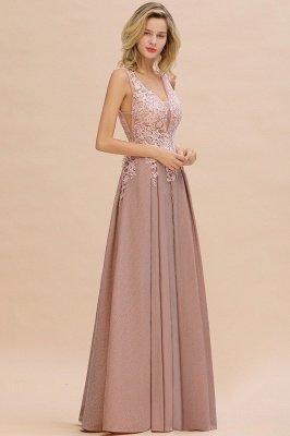 Rebacca | A-Line V-neck Floor-Length Tulle Sequined Prom Dresses_12
