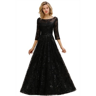 Acacia | Scoop neck Long Sleeves Black Prom Dresses with Sparkly Floral Designs_1