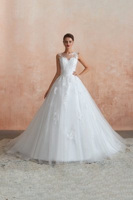 Cain   Illusion Neck White Wedding Dress with exqusite Lace Appliques, Sleeveless V-back Bridal Gowns Online_11