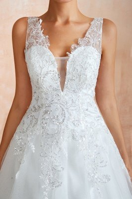 Carly | Sexy Pluging V-neck Ball Gown Wedding Dress with Chapel Train, Affordable Bridal Gowns with see-through Lace Back_3