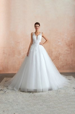 Carly | Sexy Pluging V-neck Ball Gown Wedding Dress with Chapel Train, Affordable Bridal Gowns with see-through Lace Back_10