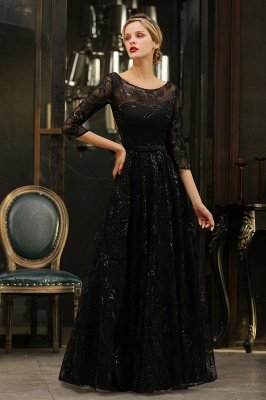 Acacia | Scoop neck Long Sleeves Black Prom Dresses with Sparkly Floral Designs_16