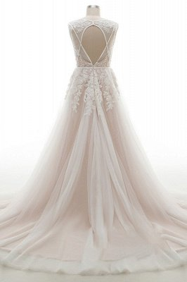 Elegant V-Neck Lace Appliques A-line Wedding Dress Tulle Evening party Dress_3