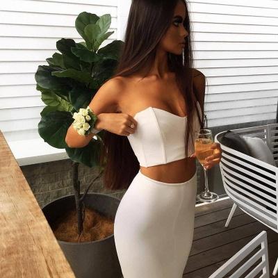 Moderne Weiße Abendmode Zweiteiliger | Sexy Abendkleid Schulterfrei SP0362_3