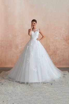 Cain | Illusion Neck White Wedding Dress with exqusite Lace Appliques, Sleeveless V-back Cheap Bridal Gowns Online