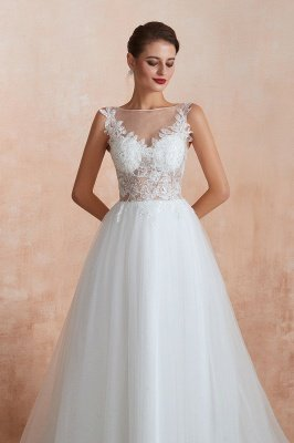 Caltha | Beautiful Bateau neck White Wedding Dress with Sparkling Sequins, Babyonlinedress Design Lace Bridal Gowns_8