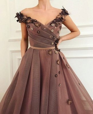 Stunning Brown Prom Dress | V-Neck Ball Gown Evening Gowns_1