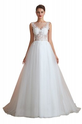 Caltha | Beautiful Bateau neck White Wedding Dress with Sparkling Sequins, Babyonlinedress Design Lace Bridal Gowns_11