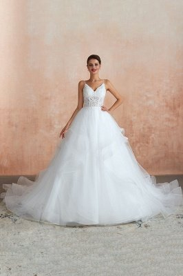 Camille | Cheap White Ball Gown Wedding Dress with Chapel Train, Spaghetti Strap See-through Lace up Bridal Gowns for Sale