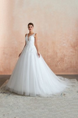 Carly | Sexy Pluging V-neck Ball Gown Wedding Dress with Chapel Train, Affordable Bridal Gowns with see-through Lace Back_9