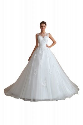 Cain   Illusion Neck White Wedding Dress with exqusite Lace Appliques, Sleeveless V-back Bridal Gowns Online_1