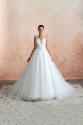Carly | Sexy Pluging V-neck Ball Gown Wedding Dress with Chapel Train, Affordable Bridal Gowns with see-through Lace Back