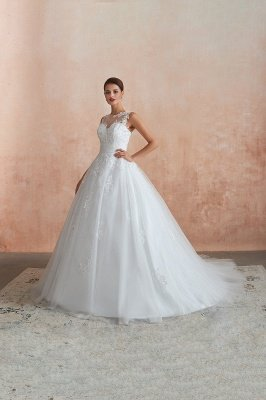 Cain   Illusion Neck White Wedding Dress with exqusite Lace Appliques, Sleeveless V-back Bridal Gowns Online_10