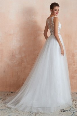 Caltha | Beautiful Bateau neck White Wedding Dress with Sparkling Sequins, Babyonlinedress Design Lace Bridal Gowns_7