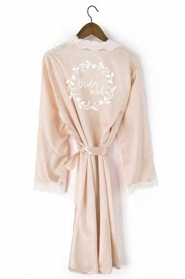 Durward | Personalized Lace Silk Satin Robe Kimono Beaded Bride Bridesmaid Wedding Gown Bathrobe Sleepwear