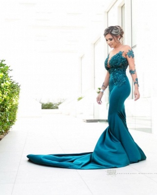 Classic Illusion neck Long Sleeve Blue Lace Appliques Prom Dress with Chapel Train_2