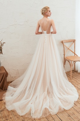 Illsuion neck Champange Wedding Dress with Chapel Train | Sleeveless Summer Bridal Gowns Online_4