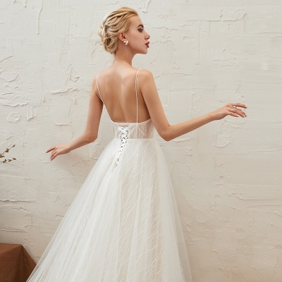 Harlan | Chic Deep V-neck White Tulle Princess Open back Wedding Dress with Court Train_17