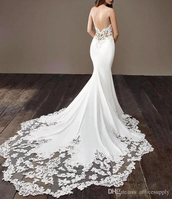 Cheap Spaghetti Strap Lace Wedding Dress Online with Chapel Train | White Bridal Gowns under $200_5