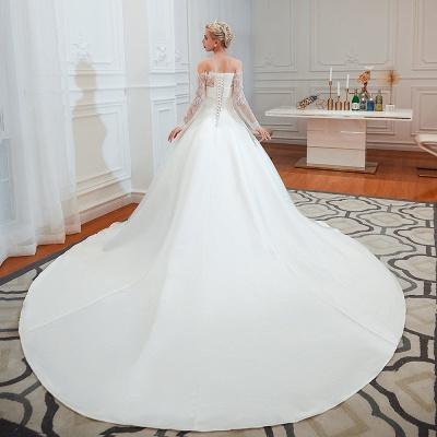 Romántico de encaje de manga larga princesa vestido de novia de satén | Vestidos de novia princesa con tren catedral_14