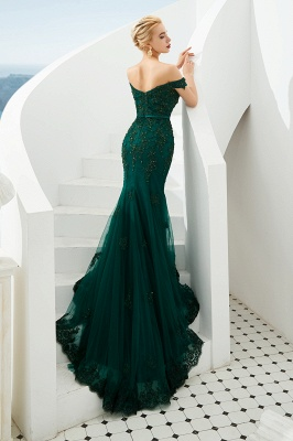 Harvey | Günstige Emerald Green Mermaid Tüll Prom Kleid mit Perlen Spitze Appliques_4