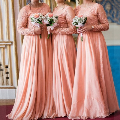 Long Sleeves Lace Appliqued Floor Length Bridesmaid Dresses | Affordable Coral Long Wedding Party Dresses_1