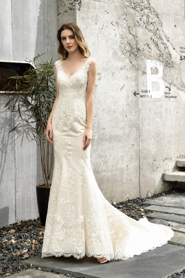 Stunning Sleeveless Fit-and-flare Lace Open Back Summer Beach Wedding Dress_7