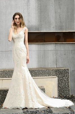 Stunning Sleeveless Fit-and-flare Lace Open Back Summer Beach Wedding Dress_9