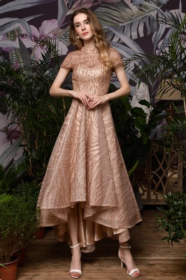Ardolf | High neck Short Sleeve Champange Sequined High Low Prom Dress_4