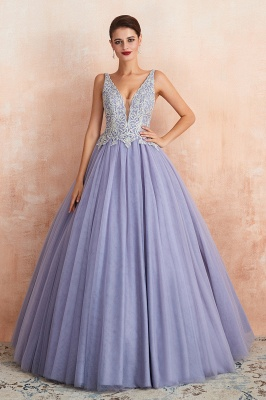 Cerelia | Elegant Princess V-neck Ball gown Lavender Prom Dress with Appliques, Deep V-neck Evening Gowns with Pleats_7