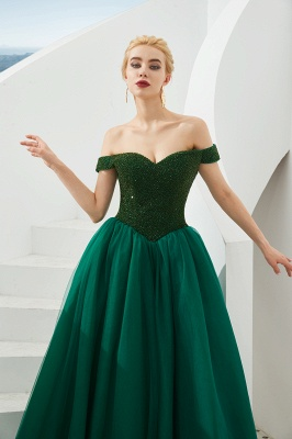 Harry | Elegant Emerald green Off-the-shoulder Ball Gown Dress for Prom/Evening_9