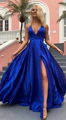 Cheap Spaghetti Strap Shiny Royal Blue Prom Dress with High Split   Sexy V-neck Princess Evening dress online_2