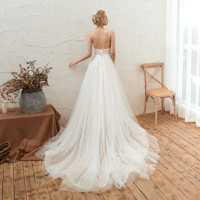 Harlan | Chic Deep V-neck White Tulle Princess Open back Wedding Dress with Court Train_14