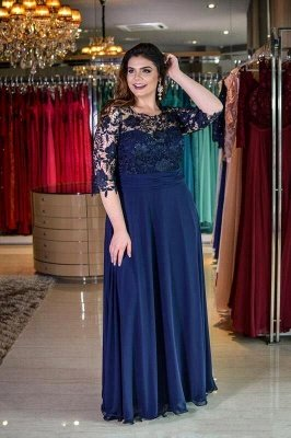 Plus size Half Sleeves Navy Blue Mother of bride Dress | Modest Round neck Lace Bridesmaid Dress for Summer Wedding_1