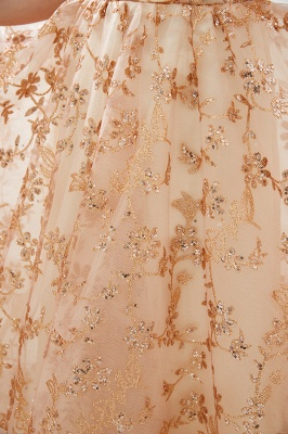 Hale | Romantic Off-the-shoudler Rose Gold Lace-up Tulle Prom Dress with Sparkly Appliques_9