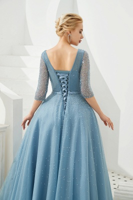 Harold | Discount V-neck Fully beaded 2/3 sleeves A-line Tulle Long Prom Dress_10