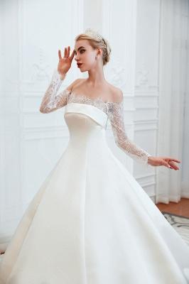 Romántico de encaje de manga larga princesa vestido de novia de satén | Vestidos de novia princesa con tren catedral_7