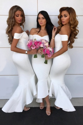 Sexy Open Back Sweetheart Neckline Meimaid Bridesmaid Dresses |Off-shoulder Ankle Length Wedding Party Gowns_1