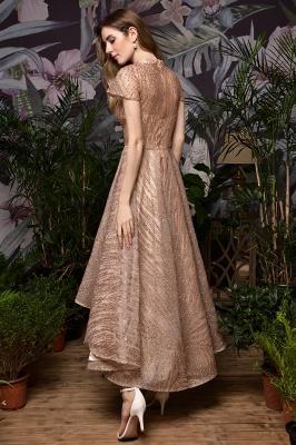 Ardolf | High neck Short Sleeve Champange Sequined High Low Prom Dress_3