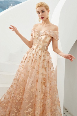 Hale | Romantic Off-the-shoudler Rose Gold Lace-up Tulle Prom Dress with Sparkly Appliques_6