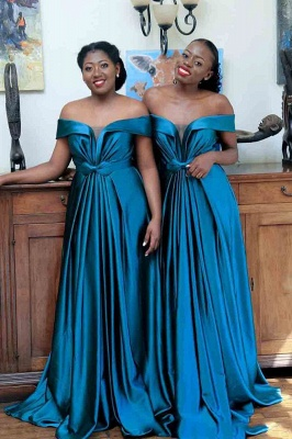Sexy New Off-shoulder Sweep Train Bridesmaid Dresses With Bow Belt | Long Blue Wedding Party Dresses_1