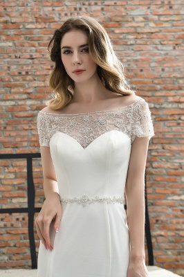 Floral Beaded Cap Sleeve Mermaid  Lace Ivory Wedding Dress with Chapel Train_10