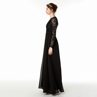 Phebe | Black Long Sleeves V-neck Long Bridesmaid Dresses for fall wedding_6