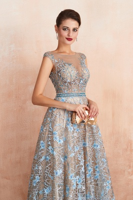 Celandine | Expensive Cap Sleeve See-through Prom Dress with Sky Blue Appliques, Unique Luxury Design Long Evening Dress Online_5