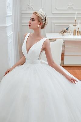 Sexy V-neck sleeveless White Princess Spring Wedding Dress | Elegant Low Back Bridal Gowns with Belt_9