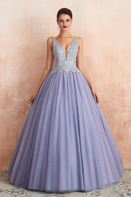 Cerelia | Elegant Princess V-neck Ball gown Lavender Prom Dress with Appliques, Deep V-neck Evening Gowns with Pleats_4
